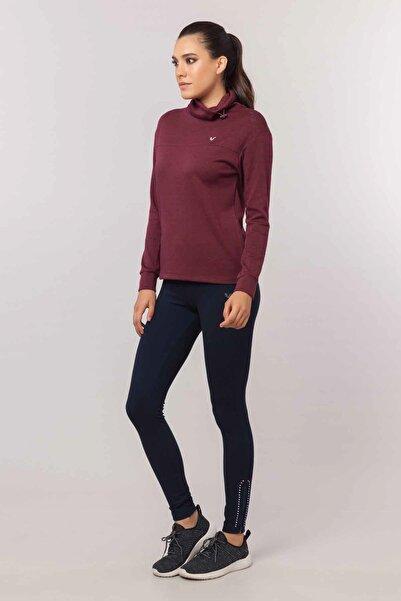 bilcee Bordo Simli  Kadın Sweatshirt  EW-3031