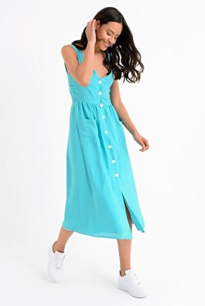 Kadın Turkuaz Kolsuz V Yaka Önden Düğmeli Elbise HN1671