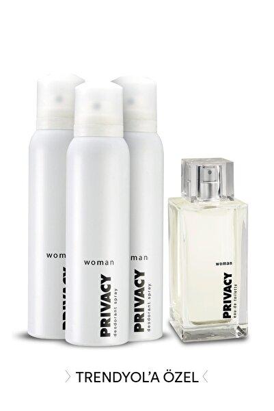 Privacy Edt Kadın Parfümü 100 ml + 3'Lü Deodorant 150 ml 507646-2