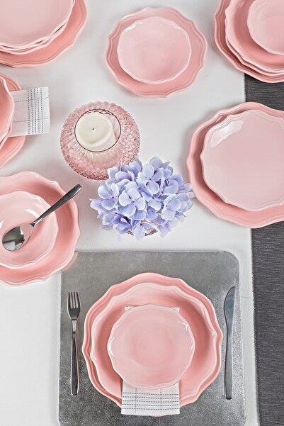 Keramika Romeo Açık Pembe Yemek Takımı 24 Parça 6 Kişilik