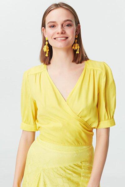 İpekyol Kadın Sarı  Kuşaklı Anvelop Bluz IS1190006244009