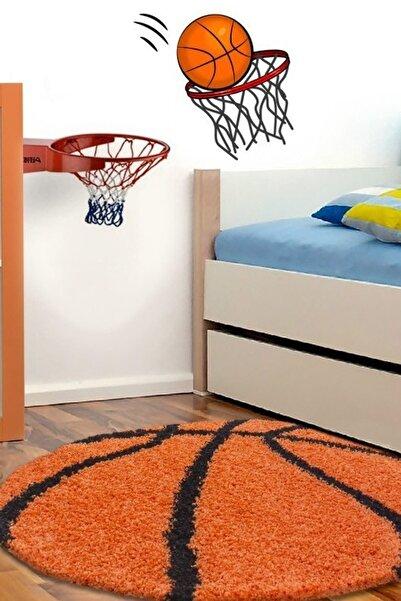 AYYILDIZ Çocuk Halısı Basketbol Topu Uzun İplikli Shaggy yuvarlak Turuncu Siyah