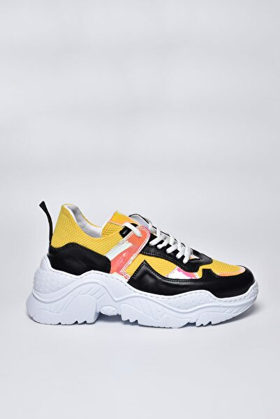 Jeep Siyah Sarı Kadın Spor Ayakkabı 9Y2SAJ0015