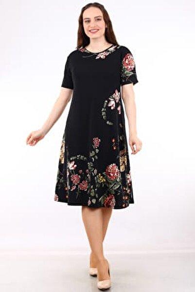 Kadın Siyah Kısa Kollu Desenli Krep Elbise MHMT034