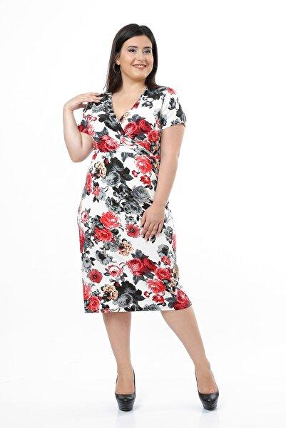Moday Kadın Ekru Çiçek Desenli Likralı Viskon Elbise 1D-0663