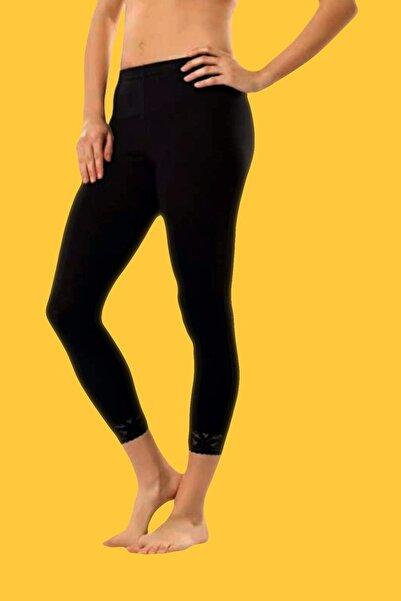 Tutku Kadın Siyah 2'Li Paket Likralı Paçası Dantelli Uzun Tayt