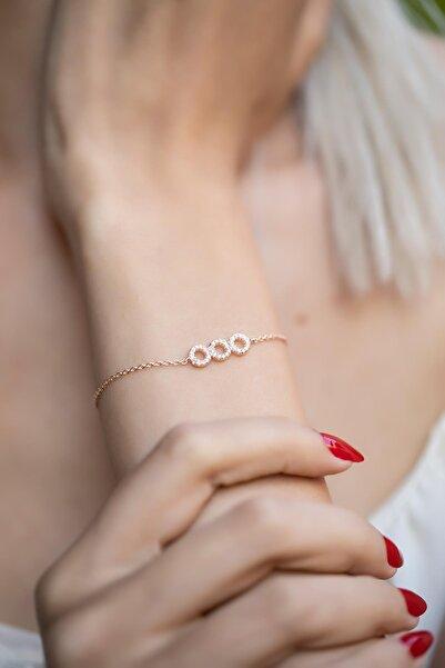 İzla Design Kadın Üçlü Halka Model Zirkon Taşlı Rose Kaplama Gümüş Bileklik İZLASLVR00342