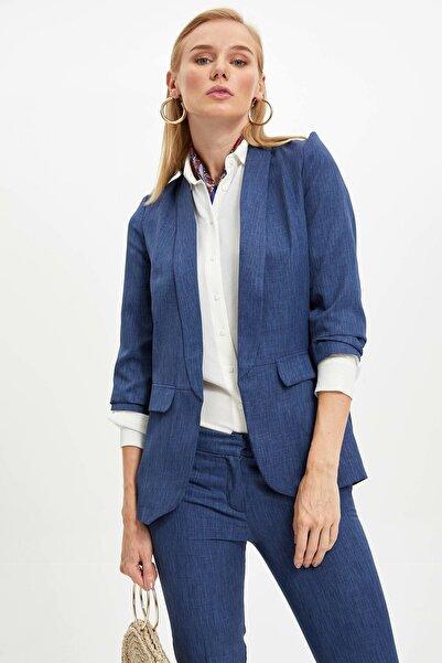 DeFacto Kadın Çivit Mavisi Slim Fit Blazer Ceket M4055AZ.19AU.IN9
