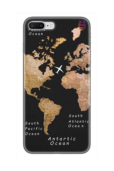 Wolf Dizayn iPhone 7   Plus  Silikon Kılıf -Old Map