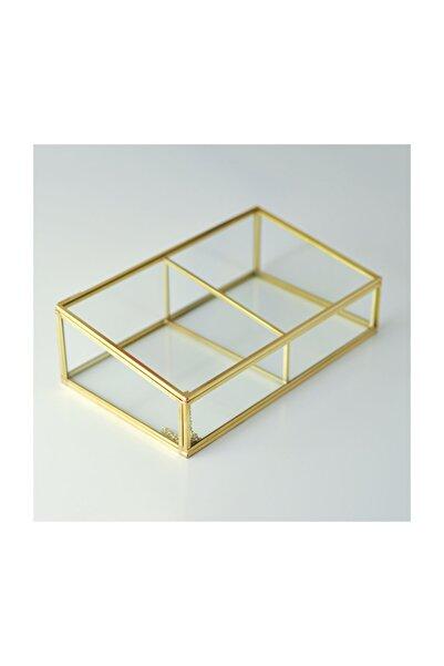 El Crea Designs Gold Pirinç Brass Dekoratif Kapaklı Cam Takı, Makyaj, Aksesuar Kutusu 2 Bölmeli
