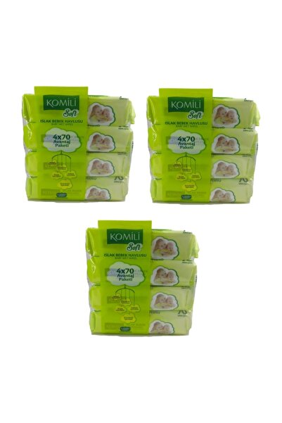Komili Soft Islak Bebek Havlu Mendil 12 Paket 840 Yaprak Kapaklı
