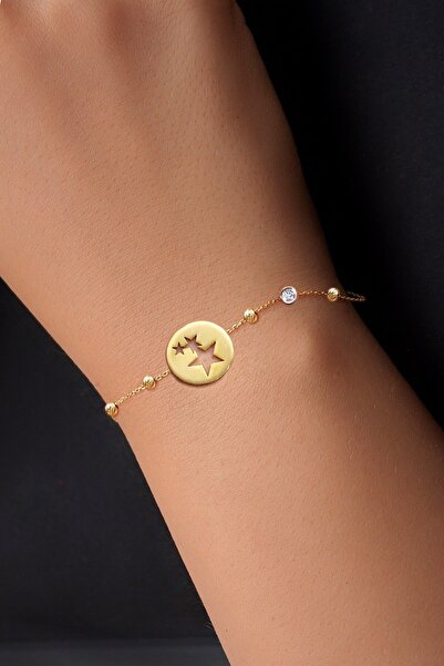 Demas Gold Kadın Pırlanta 14 Ayar Altın Dorika Firuze Yildizlar Bileklik DBG0003