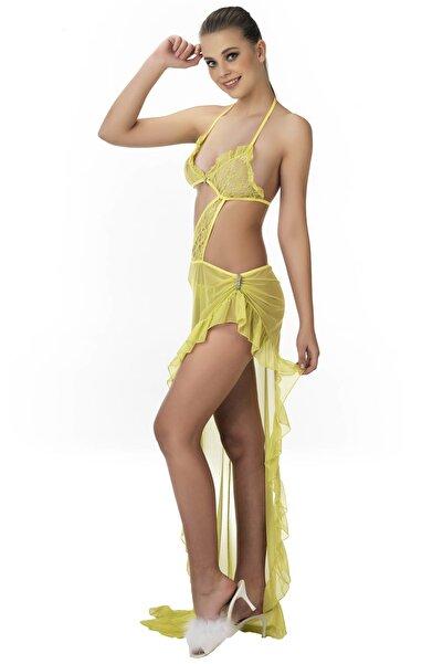 For Dreams Kadın Sarı Sarı Gecelik Fırfır Etekli Transparan Fantezi Giyim