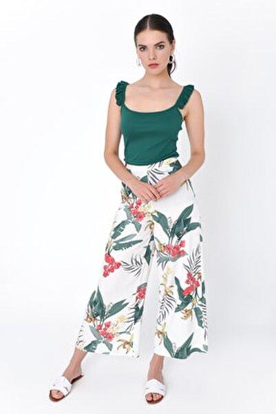 Kadın Beyaz Çiçek Desenli Bol Paça Pantolon HN2015