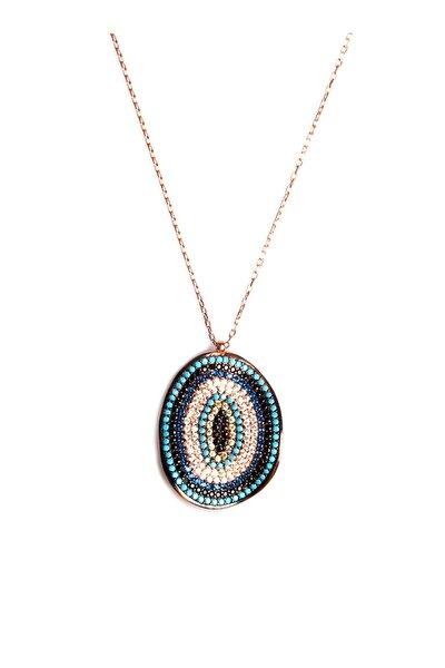 Sahra Renkli Zirkon Süslemeli Tasarım 925 Ayar Gümüş Kolye KLY-0066-34