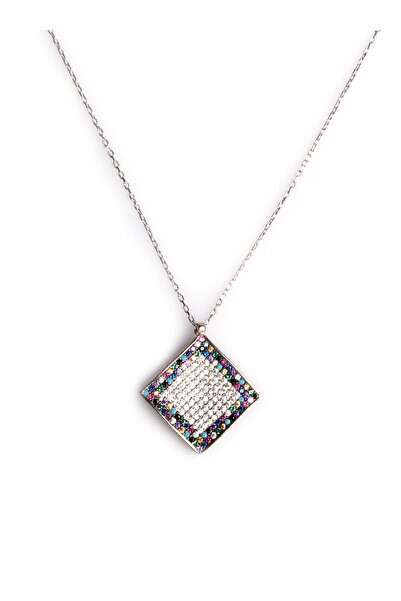 Sahra Renkli Zirkon Süslemeli Tasarım 925 Ayar Gümüş Kolye KLY-0066-37
