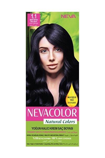Neva Color Nevacolor Natural Colors 1.1 Mavi Siyah - Kalıcı Krem Saç Boyası Seti