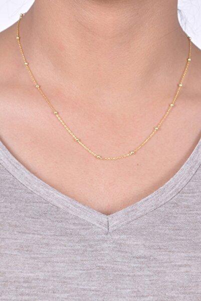 Midyat Gümüş Dünyası Kadın Altın Kaplama Seyrek Toplu Gümüş Bayan Zincir Kolye  MGD2020907