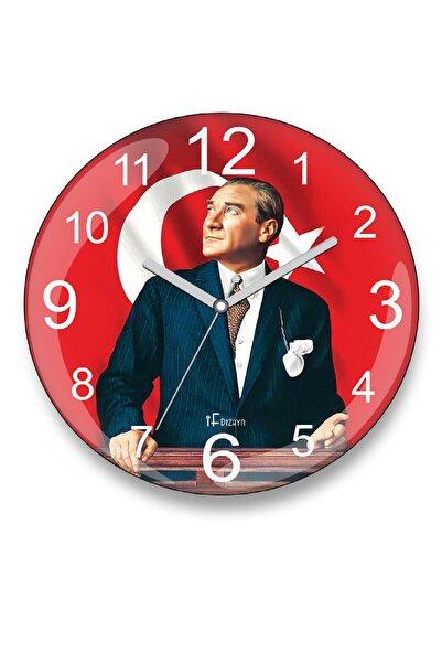 iF Dizayn Atatürk ve Türk Bayrağı Duvar Saati