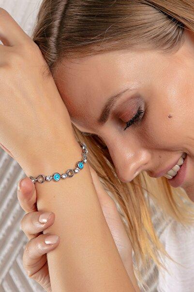 Modex Gümüş Rengi Nazarlı Bileklik