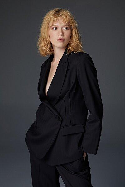 Urban Muse Kadın Tek Düğme Yün Siyah Blazer URBAN401