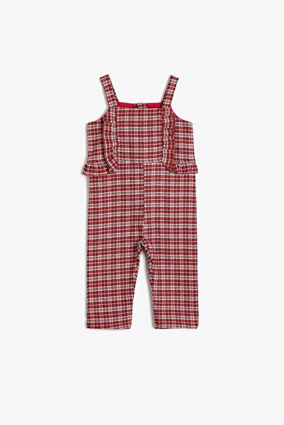 Koton Kız Bebek Kırmızı Ekoseli Kareli Tulum