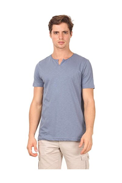 Ramsey Mavi Düz Örme T - Shirt RP10113893