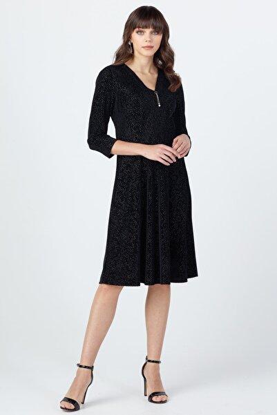 Ekol Kadın Siyah Simli Kadife Elbise 20K.Ekl.Elb.01029.1