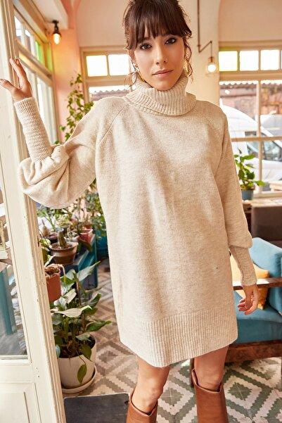 Olalook Kadın Taş Balıkçı Yaka Balon Kol Salaş Triko Elbise ELB-19000867