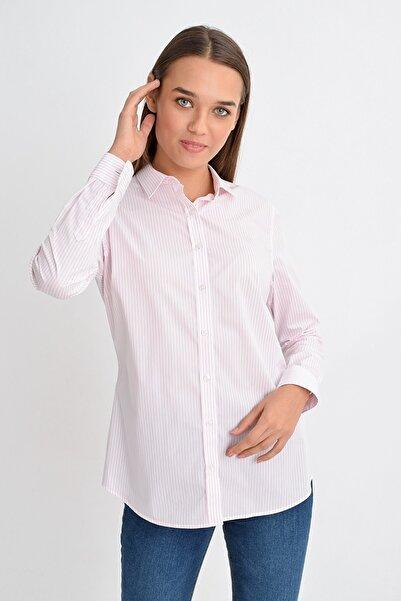 GIZA HOUSE Slim Fit Gömlek Pembe Beyaz Çizgili