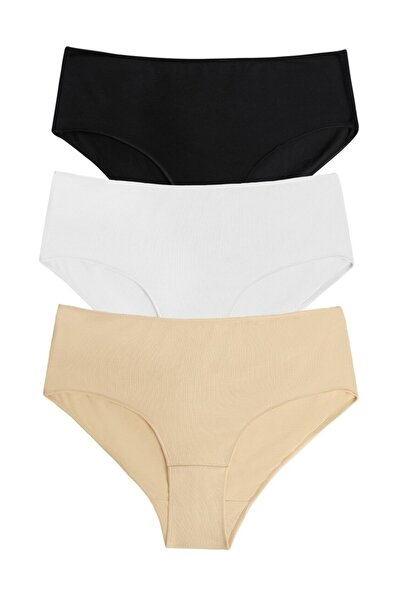 SUWEN Kadın Siyah Beyaz Ten 3 Lü Paket Yüksek Bel Slip Külot