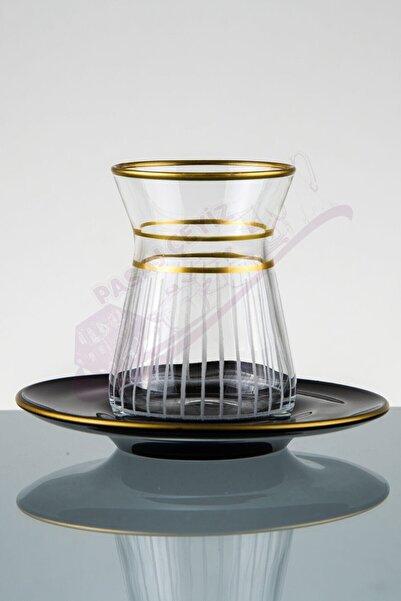 Paşabahçe El Yapımı Özel Işlemeleli Desen Gold Çay Seti 12 Parça 6 Kişilik
