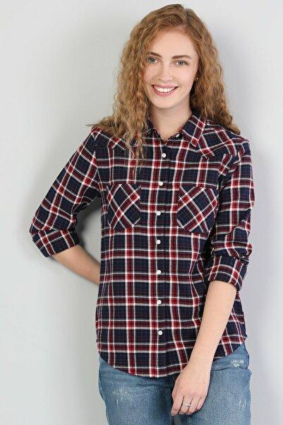 Colin's KADIN Super Slim Fit Shirt Neck Kadın Lacivert Uzun Kol Gömlek CL1045438