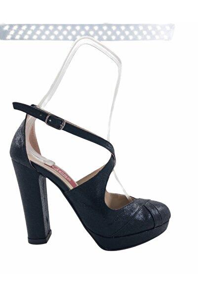 Gess Siyah Çapraz Bantlı Kalın Topuklu Platformlu Abiye Ayakkabı