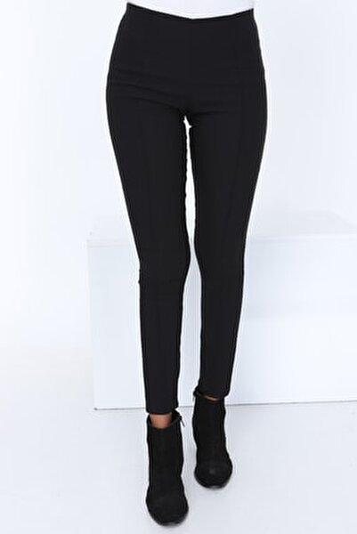 Kadın Siyah Çimalı Yüksek Bel Pantolon PTSK-7099