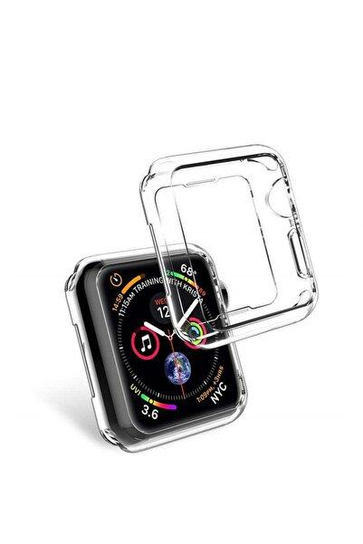 Microcase Apple Watch Seri 5 40 mm Önü Açık Tasarım Silikon Kılıf - Şeffaf