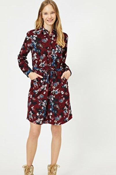Kadın Bordo Desenli Elbise 0KAL88522IW
