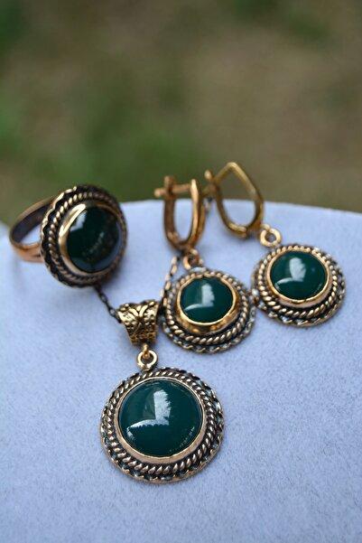 Stoneage Jewellery Yeşil Akik Doğal Taş Tam Set