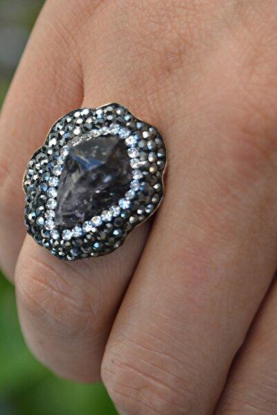 Stoneage Ametist Doğal Taş Özel Tasarım Ayarlanabilir Kadın Yüzük