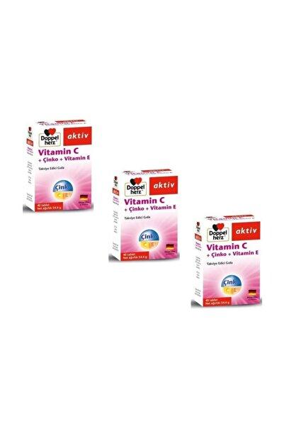 4moms Doppelherz Aktiv Vitamin C + Çinko + Vitamin E 40 Tablet 3'lü Pa