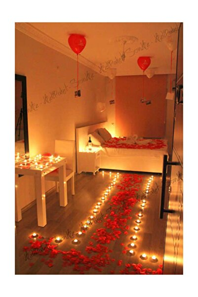 Mutlu Parti Sevgiliye Romantik Evlilik Teklifi 1000 Gül Yaprağı, Konfeti, Kalp Balon, Folyo Balon, Tealight Mum
