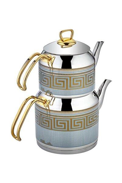 SILA Zeugma Dekorlu Turkuaz Gold 522-t Çaydanlık