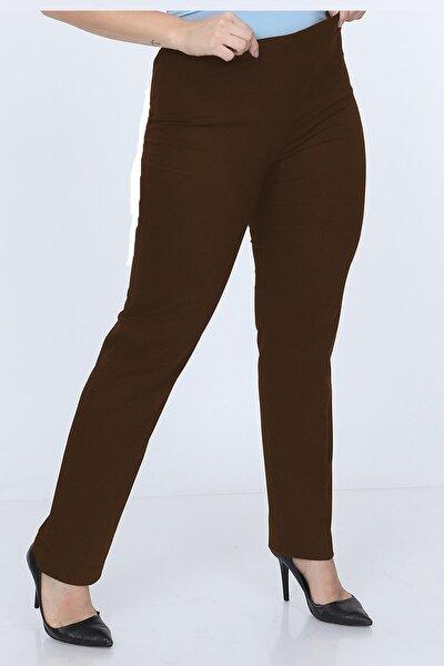 Gül Moda Büyük Beden Beli Lastikli Pantolon Kahverengi