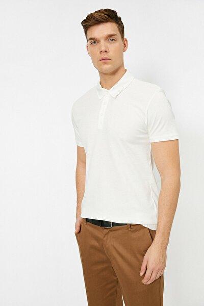 Koton Erkek Beyaz Polo Yaka T-Shirt 0YAM12003OK