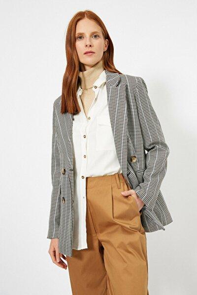 Koton Kadın Gri Kareli Ceket
