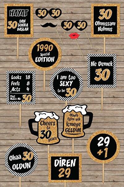 PEKSHOP 30 Yaş Doğum Günü Konuşma Balonları, Altın Konsept