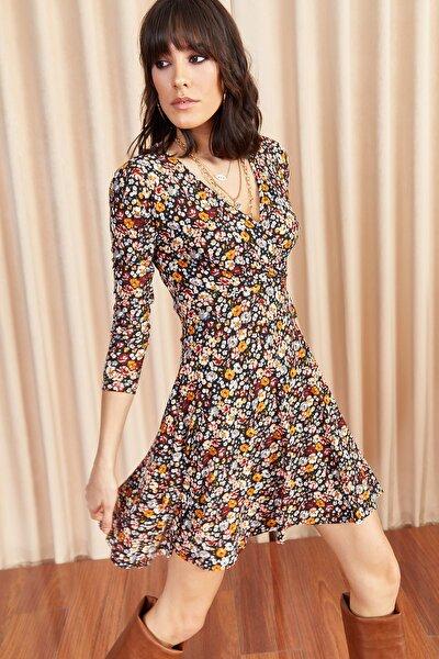 Olalook Kadın Multi Renkli Çiçekli Kruvaze Elbise ELB-19000960