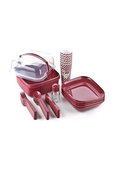 Titiz Lovely 32 Parça Piknik Seti Içiçe Geçebilen Çatal Kaşık Bıçak Bordo