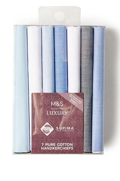 Marks & Spencer Erkek Mavi 7'li Supima® Pamuklu Mendil T09009630M