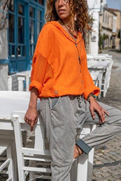 Kadın Turuncu Yıkamalı Keten Fileli Bağlamalı Kapüşonlu Bluz GK-RSD2021